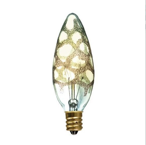 Bulbrite 25B10/MAR Crystal Collection Incandescent B10 Chandelier Bulb with Marble Finish and Candelabra Base, 25-watt, Amber