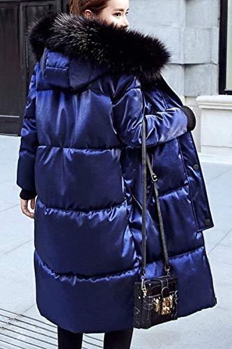 Coat Pelliccia Lunga Parka Laterali Confortevole Vento Abbigliamento Pulsante Tasche Cerniera Con Monocromo Moda Cappuccio Sintetica Blu Invernali Giacca Manica Donna ttxq81