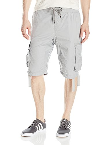 Southpole Men's Jogger Shorts with Cargo Pockets in Solid and Camo Colors, Light Grey(New), Large