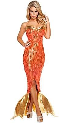 HPLY Women's Sexy Orange Sequined Mermaid Costume Halloween Cosplay Mermaid Dress