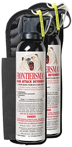 SABRE Frontiersman Bear Spray 9.2 oz Holster Options Multi-Pack Options Maximum Strength, Maximum Range Greatest Protective Barrier Per Burst Effective Against All Types of Bears
