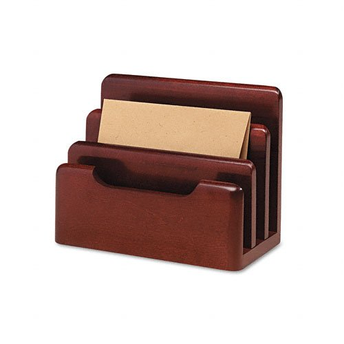 Rolodex Wood Tones Desktop - Rolodex : Wood Tones Desktop Sorter, Three Sections, Wood, Mahogany -:- Sold as 2 Packs of - 1 - / - Total of 2 Each