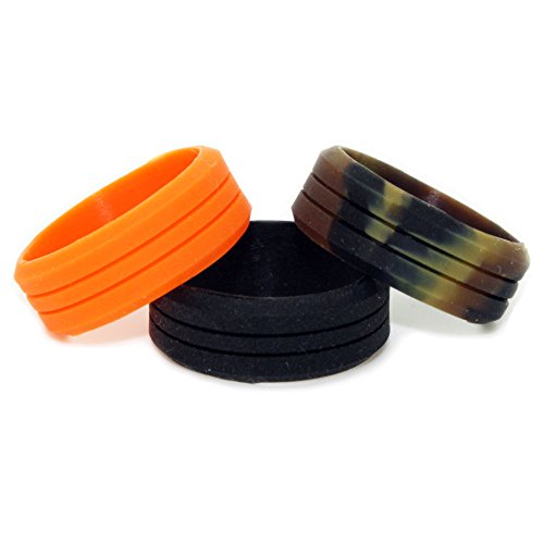 1CAMO Camo Silicone Rings - 3 Pack (Orange, Camouflage, Black) - US Size 12]()