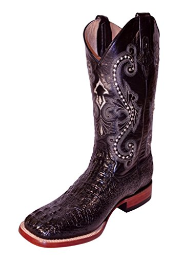 Caiman Croc (Ferrini Men's Caiman Croc Print Cowboy Boot Wide Square Toe Black 13 EE US)