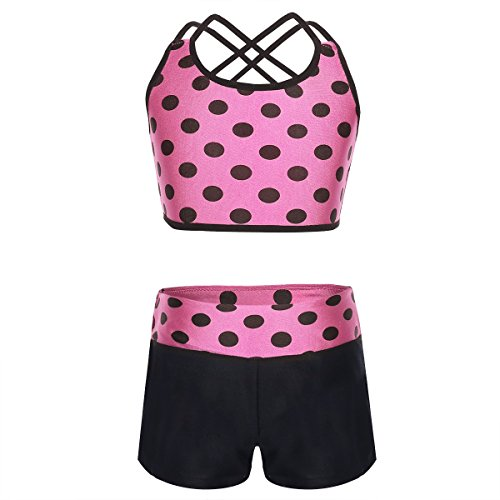 YiZYiF Childrens Girl Polka Dot Strappy Top Bra and Shorts set for Swimwear or Gymnastics Leotard Dancing Hot Pink 11-12