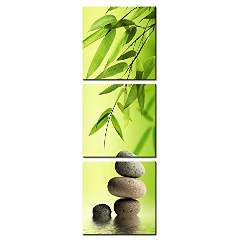 DVQ ART Framed Canvas Print Painting Bamboo and Stone Vertical Forms Wall Art Picture for Living Room Decor Ready to Hang 12