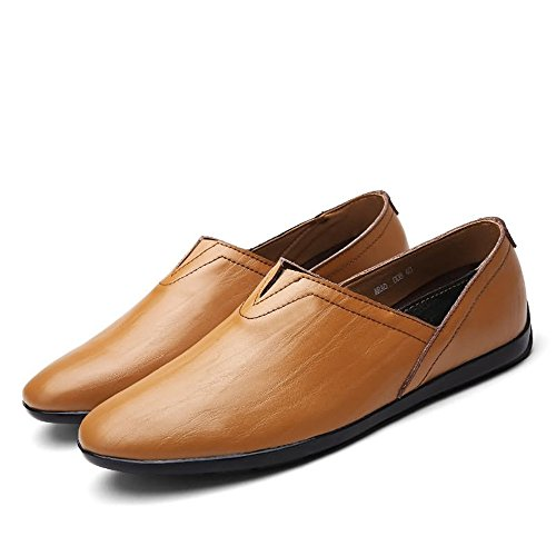 Brown minimaliste leggeri Slip Dimensione Yellow on Mocassini PU Scarpe Fashion uomo Color shoes Leather Meimei EU 38 Mocassini da HWpqZvZ7