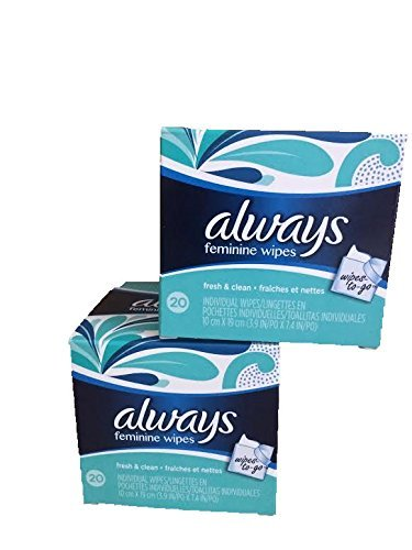 Always Feminine To Go Wipes-Fresh & Clean-Individual Packets-2 Boxes-Total 40 individual wipes
