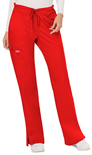 (Cherokee Women's Mid Rise Moderate Flare Drawstring Pant, Red, Small)