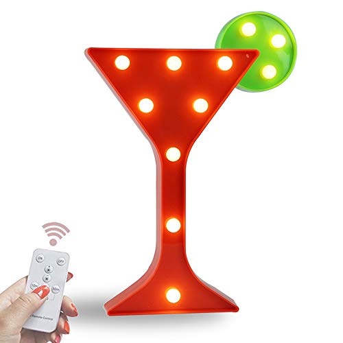 Obrecis Light Up Wine Glass Marquee Sign, Marquee Cocktail Cup Night Lights with Remote Timer Dimmable for Home BAR Pub Drink Sign (RC Wine -