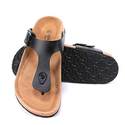 Seranoma Women's Thong Cork Sandal | Open Toe Slide | Flat Footbed Black