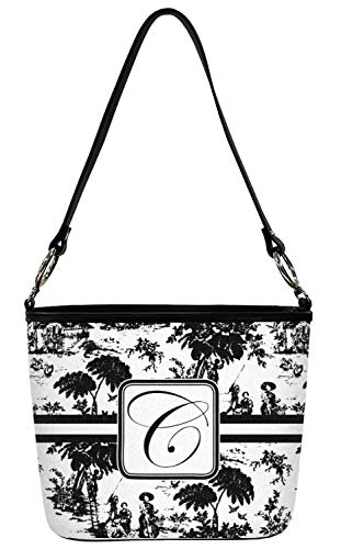 Toile Bucket - Toile Bucket Bag w/Genuine Leather Trim - Regular - Front (Personalized)