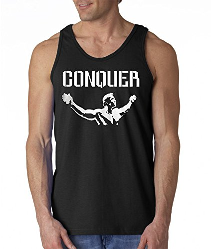 Arnold Quote Conquer Pose Gym Lifting Crossfit Workout Tank Top Medium Black