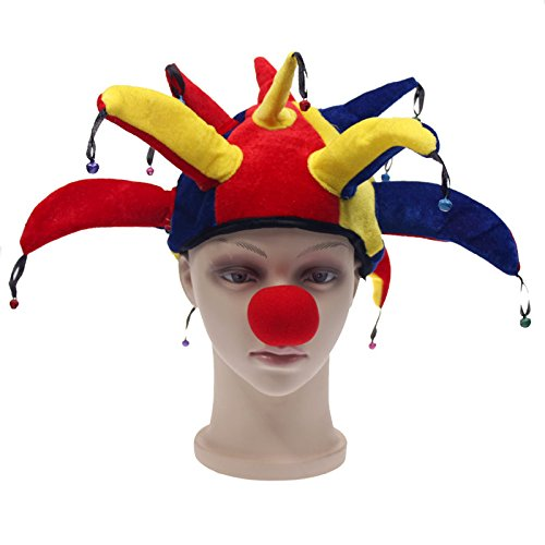 Idealgo Funny Multicolor Clown Hat with Clown Noses One Set Halloween Party Supplies Festival Party Jester Clown Bell Party Costume Hat Clown Joker Hat Cap Makeup Prop Accessories Costume Activity