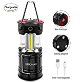 Brionac Rechargeable Led Camping Lantern with Magnetic Base, Portable Lantern Led Flashlight Red Light 4 Modes - with Built-in Battery for Emergency, Hurricane, Power Outage