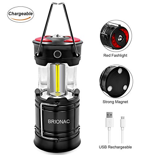 Brionac Rechargeable Led Camping Lantern with Magnetic Base, Portable Lantern Led Flashlight Red Light 4 Modes - with Built-in Battery for Emergency, Hurricane, Power Outage by BRIONAC