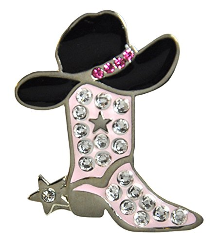 Adorable Pink Cowgirl Boot Ballmarker Accented by Genuine