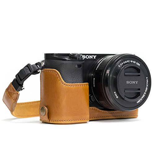 Megagear MG962 Sony Alpha A6300, A6000 Ever Ready Leather Camera Half Case and Strap, with Battery Access, Light Brown