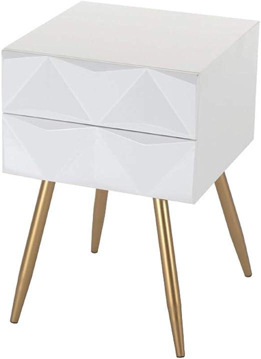 Muebles Mesita De Noche Blanca De Madera Con Cajones, Mesa Lateral ...