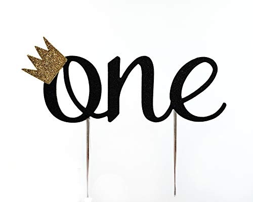 CMS Design Studio Handmade 1st Birthday Cake Topper Decoration - One with Crown - Double Sided Glitter Stock (Black)