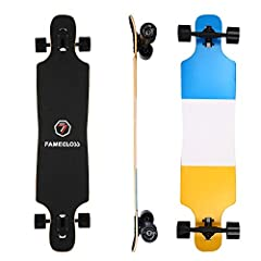 Durable Classic DeckFAMEGLOSS drop-through longboard employs a 7-ply Canadian maple deck and its anti-slip brushed black surface brings you extraordinary performance. It's tough and durable enough for uneven surfaces, rail, pool, bumpy roads....