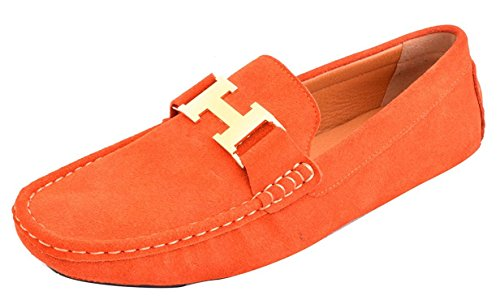 Fordbox Mens Casual Gold Buckle Leather Slip On Loafer Driving Car Shoes Moccasin Shoes Orange9 D M  Us