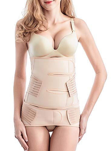 (Postpartum Belly Wrap, 2 in 1 Postnatal Belt C-section Recovery Wasit/belly/pelvis Girdle Post Pregnancy Body Shaper Girdle After Delivery (Nude, One size))