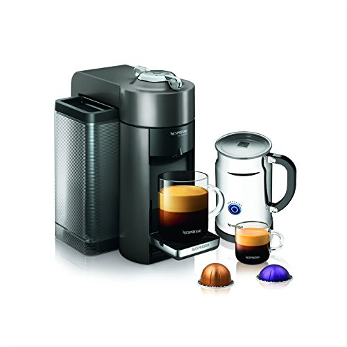 Nespresso A+GCC1-US-GM-NE VertuoLine Evoluo Deluxe Coffee and Espresso Maker with Aeroccino Plus Milk Frother, Graphite Metal (Discontinued Model) Metal Espresso Maker