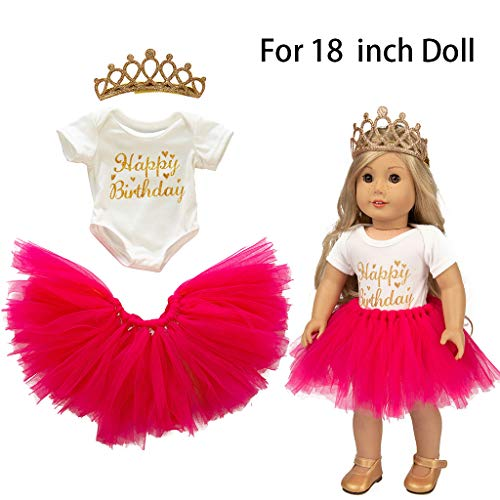 Denzar 18in Doll Clothes Girl,3pcs Clothes Set,Cute Tutu Skirt Clothes Coat Girl Toy for 18 inch Doll Accessory Gril's Toy (Hot -