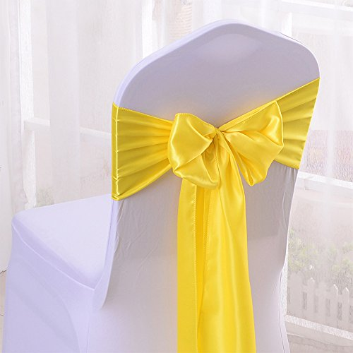 10PCS 17X275CM Satin Chair Bow Sash Wedding Reception Banquet Decoration #03 Bright ()