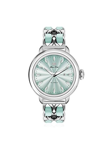 Glam Rock Women's GR77027 Bal Harbour Green Dial Leather And Steel Wristwatch