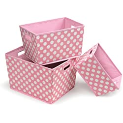 Badger Basket 3 Pack Polka Dot Nesting Trapezoid Folding Baskets, Pink