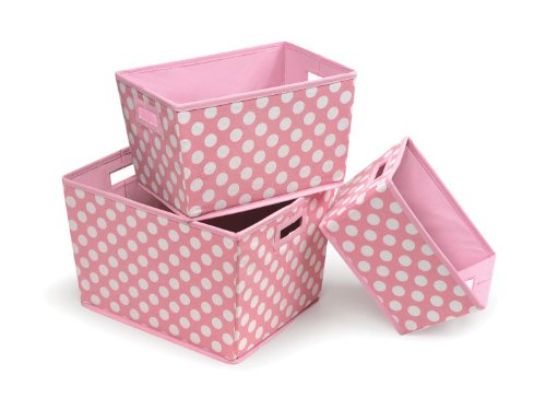 Best Deals! Badger Basket 3 Pack Polka Dot Nesting Trapezoid Shape Folding Baskets, Pink