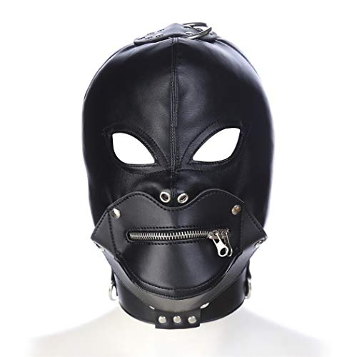 Role Play Game Set Mouth Zipper Headgear Balaclava Mask Helmet Harness Faux Leather Masquerade Hallowmas Cosplay Costume Accessory