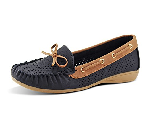 Jabasic Lady Comfort Slip-on Loafers Hollow Driving Flat Shoes(7.5,Black-1)