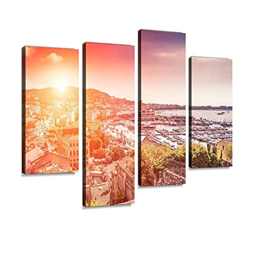 (Panoramic View of Cannes at Sunset Canvas Wall Art Hanging Paintings Modern Artwork Abstract Picture Prints Home Decoration Gift Unique Designed Framed 4 Panel)