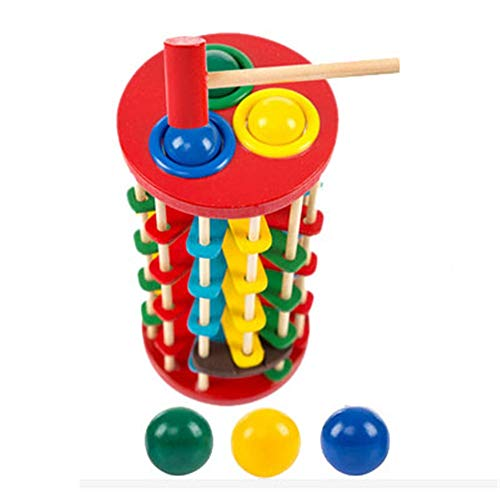 DIY House Kit Infant Educational Toys Wooden Color Knocking Ball Ladder Toy Knocking Table DIY Gift for Friends,Lovers and Families ()