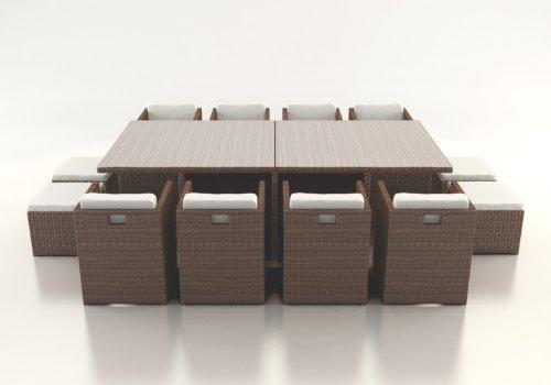 Polyrattan Esstisch Set BOREAS XL braun