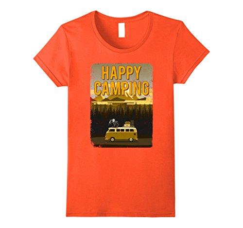 Womens Vintage Happy Camping T-shirt Jason The Camper Murderer Medium Orange