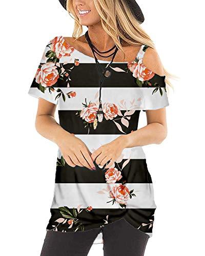Plus Size Clothing Women Tshirt Tops Boho One Shoulder Floral Black XXL