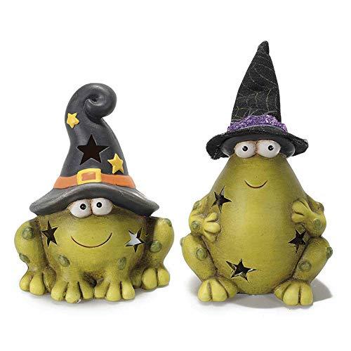 Coppia di rane di Halloween in ceramica con led. ZUCCHE FESTA RANE STREGA www.lefantasiedicasa.com