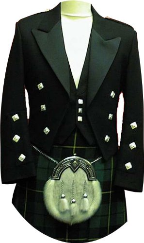 Prince Charlie Jacket & Vest, Custom Made Coat & Vest, Black ()