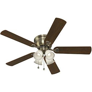Harbor Breeze Centreville 52 In Antique Brass Indoor Flush Mount Ceiling Fan With Light Kit