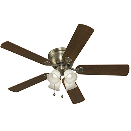 - Harbor Breeze Centreville 52-in Antique Brass Indoor Flush Mount Ceiling Fan with Light Kit