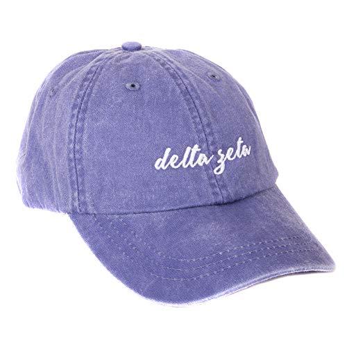 Delta Zeta (N) Sorority Baseball Hat Cap Cursive Name Font dz (Purple - N)