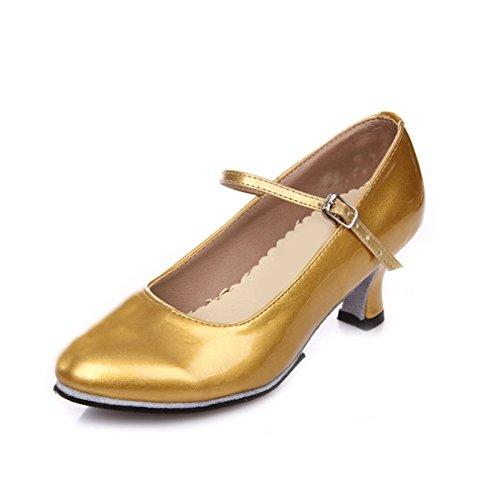 Adultos Sandalias Samba Tobillo Suave Cuero de BYLE Oro Baile Ms de Zapatos Inferior de 5cm Baile Jazz a de Latino Zapatos Modern Onecolor de SdZtq