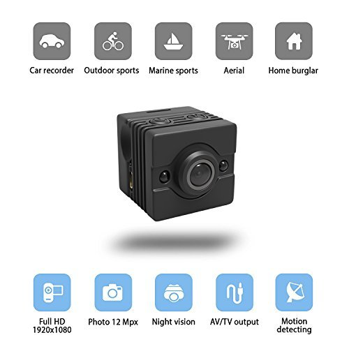 Spy Video Car (Mini Hidden Camera – Spy Camera FULL HD 1080p x 1920p – IR Night Vision and Motion Detection – Ideal as Hidden Nanny Cam – Car Surveillance or Marine Camera Kit – Waterproof Case)