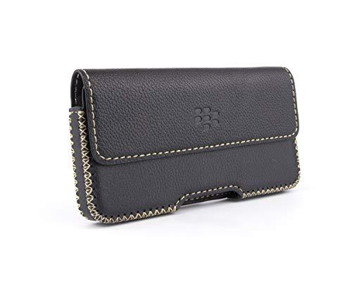 Otis Leather Case for BlackBerry Key2 KeyOne K2 - Horizontal Belt-Loop Handmade Leather Case (Black, Key2) ()