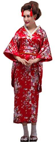 Soojun Women's Traditional Japanese Kimono Style Robe Yukata Costumes 2 Red