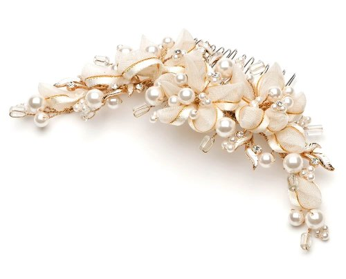 USABride Ivory and Gold Ribbon Bridal Comb wtih Simulated Pearls and Crystal Accents 752G